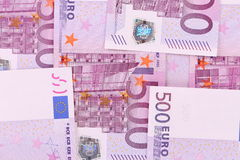 Five hundred euro banknotes background Royalty Free Stock Photos