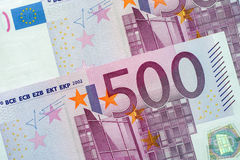 Five Hundred Euro Banknotes. Closeup Stock Image