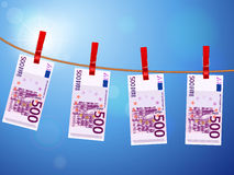 Five hundred euro banknotes on clothesline Stock Photography