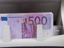 Five hundred euro banknotes in a counting machine Stock Photos