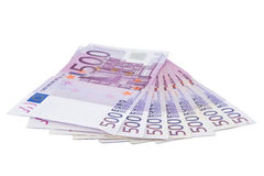 Five hundred Euro banknotes. Isolated five hundred Euro banknotes on white background Royalty Free Stock Photography