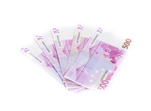 Five hundred euro banknotes isolated on white background. cash m Royalty Free Stock Photos