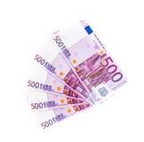 Five hundred euro banknotes isolated on white background. Cash money Stock Image