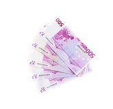 Five hundred euro banknotes isolated on white background. Cash money Stock Photography