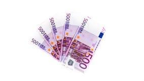 Five hundred euro banknotes isolated on white background. cash. Money Stock Photo