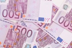 Five hundred euro banknotes. Macro. Whole background Royalty Free Stock Photography