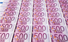 Five hundred euro banknotes. Many of five hundred euro banknotes are adjacent. photo icon for wealth and investment Royalty Free Stock Images