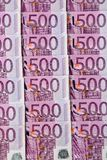 Five hundred euro banknotes. Many of five hundred euro banknotes are adjacent. photo icon for wealth and investment Royalty Free Stock Photos