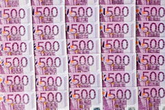Five hundred euro banknotes. Many of five hundred euro banknotes are adjacent. photo icon for wealth and investment Stock Images
