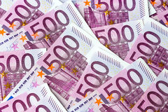 Five hundred euro banknotes. Many of five hundred euro banknotes lie side by side. symbolic photo for wealth and investment Stock Images