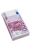 Five hundred euro banknotes. Many of five hundred euro banknotes. photo icon for wealth and investment Royalty Free Stock Image