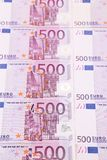 Five hundred euro banknotes. Vertical. Whole background Stock Photography