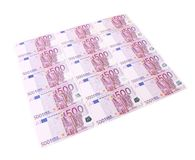Five hundred euro banknotes. On a white background Stock Photos