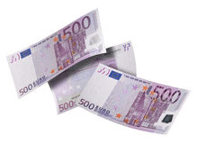 Five hundred euro bill collage isolated on white Royalty Free Stock Photo