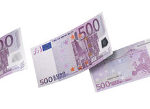 Five hundred euro bill collage isolated on white Royalty Free Stock Images