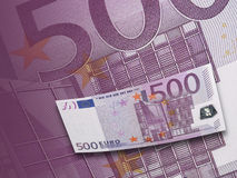 Five hundred euro bill collage in purple tone Stock Images