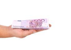 Five hundred euro bill on hand. Stock Image