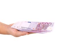 Five hundred euro bill on hand. Stock Photography