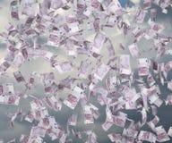 Five hundred euro. Bills falling on sky background Stock Photo