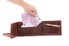 Five hundred euro bills in purse. Stock Photography