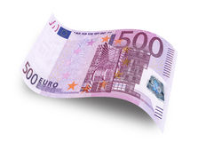 Five hundred euro. Close up five hundred euro banknote on white background Royalty Free Stock Photography