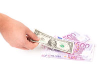 Five hundred euro fan and dollar bill Stock Images