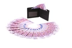 Five hundred euro fan and purse. Royalty Free Stock Photos