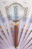Five hundred euro and loop. Image of a five hundred euro and loop Stock Photo