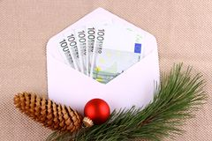 Five hundred euro money in envelope with Christmas deco Royalty Free Stock Images