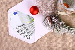 Five hundred euro money in envelope with Christmas decor Stock Photography