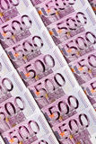 Five hundred euro notes. Many five hundred euro banknotes lie side by side. symbolic photo for wealth and investment Stock Images