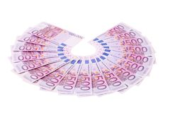 Five hundred Euro notes aligned in a fan. Royalty Free Stock Images