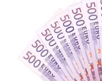 Five hundred euro notes aligned. Royalty Free Stock Photos