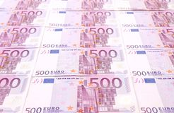 Five hundred euro notes. Close up. Whole background Royalty Free Stock Photo