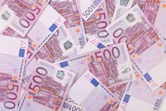 Five hundred euro notes. Close up. Whole background Royalty Free Stock Image