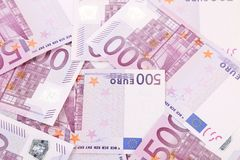 Five hundred euro notes. Whole background Stock Photos