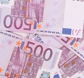 Five hundred euro notes. Whole background texture Royalty Free Stock Image