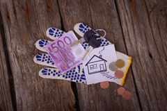 Five hundred Euro and the picture house Royalty Free Stock Images