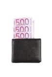 Five hundred euro in purse. Royalty Free Stock Photography