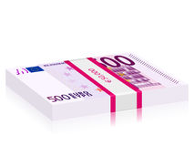 Five hundred euro stack. Hundreds euro banknotes stack on a white background Royalty Free Stock Image