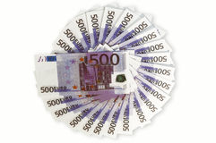 Five hundred euros. Laid out in a circle Stock Photos