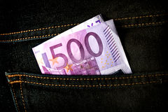 Five hundred euros banknote in the pocket of jeans. Stock Photo