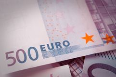 Five hundred euros banknotes hologram royalty free stock photo