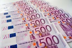 Five hundred euros banknotes in row. Five hundred euros banknotes money in row stock photography