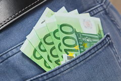 Five hundred Euros in Jeans Pocket. Close up Stock Photo