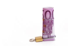 Five hundred euros locked. Five hundred euros note with a padlock Stock Photos
