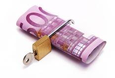 Five hundred euros locked. Five hundred euros with a padlock Royalty Free Stock Photo