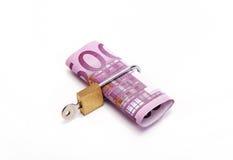 Five hundred euros locked. Five hundred euros with a padlock Royalty Free Stock Photos