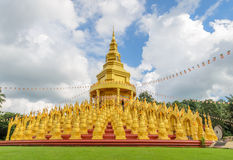 Five hundred golden pagodas in Saraburi, Thailand Royalty Free Stock Image