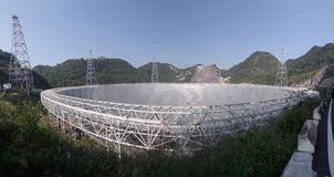 Five-hundred-meter Aperture Spherical radio Telescope. World`s largest radio telescope,FAST.China`s Five-hundred-meter Aperture Spherical radio Telescope,which royalty free stock photo